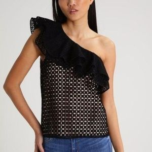 J.Crew One Shoulder Ruffle Top NWT True Size 10